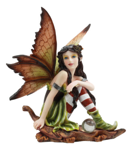 Jolly Christmas Woodlands Elf Fairy With Gazing Ball Sitting On Oak Leaf Statue