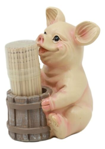 Country Farm Barn Piglet Pig By A Barrel Toothpick Holder Statue With Toothpicks
