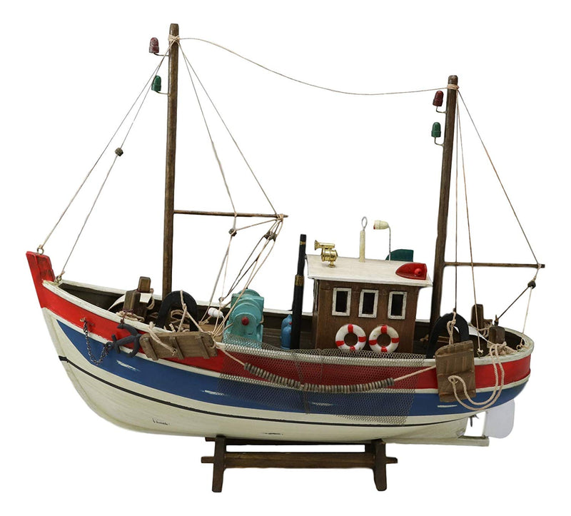 "Ebros 17"" Long Wooden Handicraft Nautical Vessel Boat Model with Wood Base Stand"