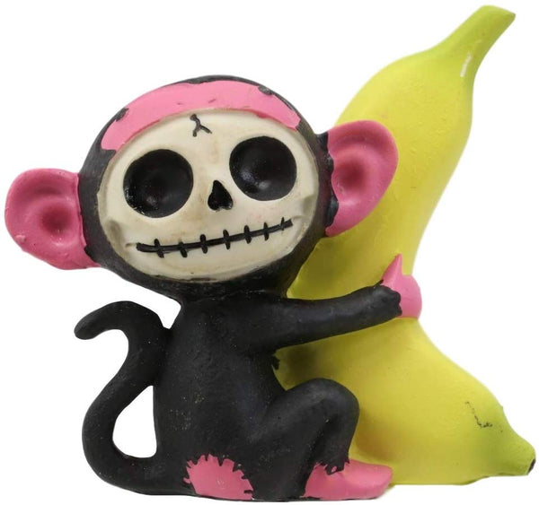 "Ebros Furry Bones Pink Baby Monkey with Giant Yellow Banana Figurine 3"" Tall"