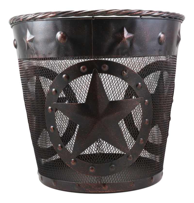 Rustic Western Lone Stars With Braided Metal Rope Trim Wire Waste Basket Bin