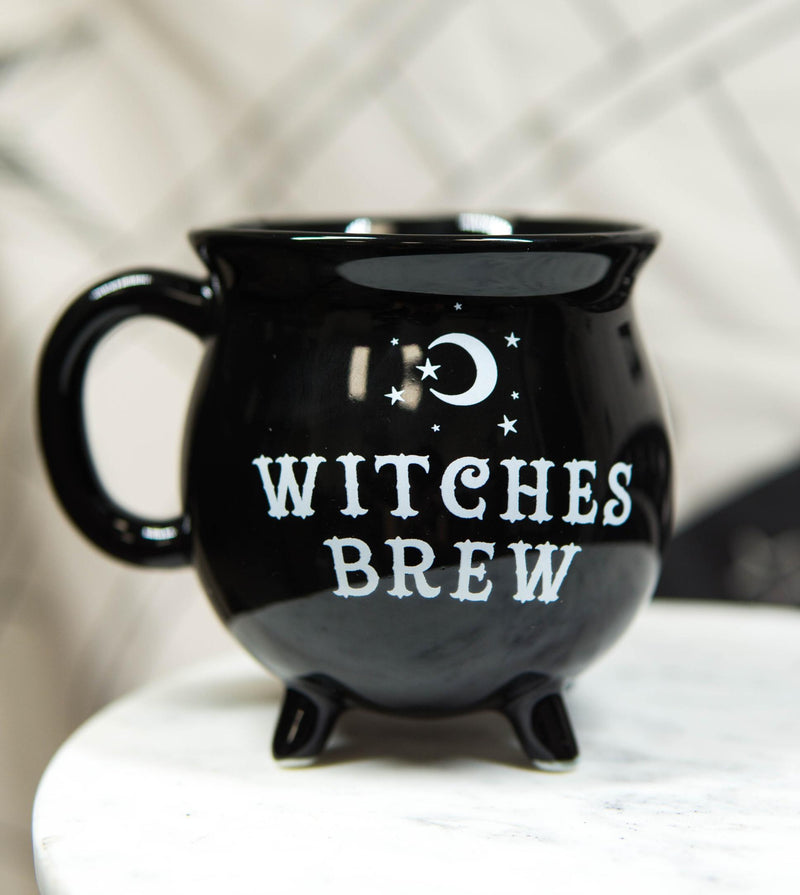 Wicca Sacred Crescent Moon Witches Brew Black Cauldron Coffee Tea Mug Cup 14oz
