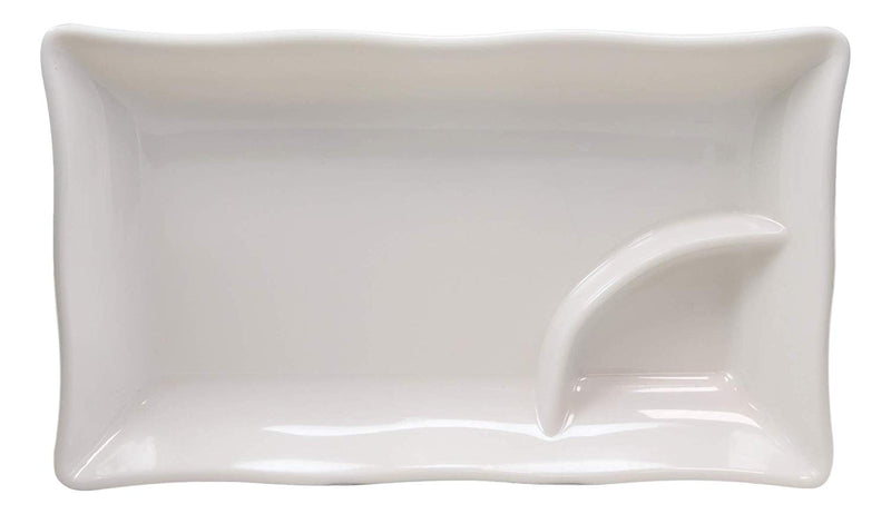 "Ebros 10"" White Rectangular Serving Plate or Slate or Dish With Sauce Partition"