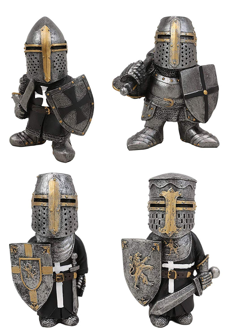 "Ebros Gift Anime Chibi Renaissance Medieval Knight of The Cross Templar Crusader Figurine 4.5"" Tall Suit of Armor Miniature European Knights Sculpture Decor (Set of 4 Templar Knights)"