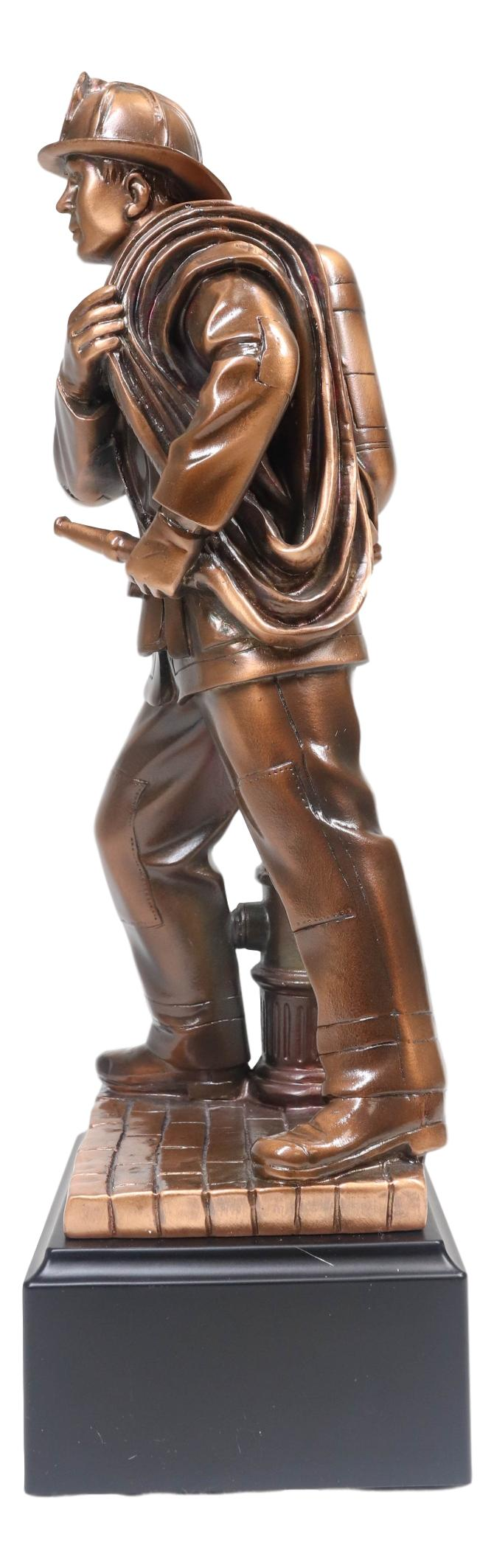 "In Line Of Duty Fireman Carrying Hose By Hydrant Statue 12""H Fire Fighter Decor"