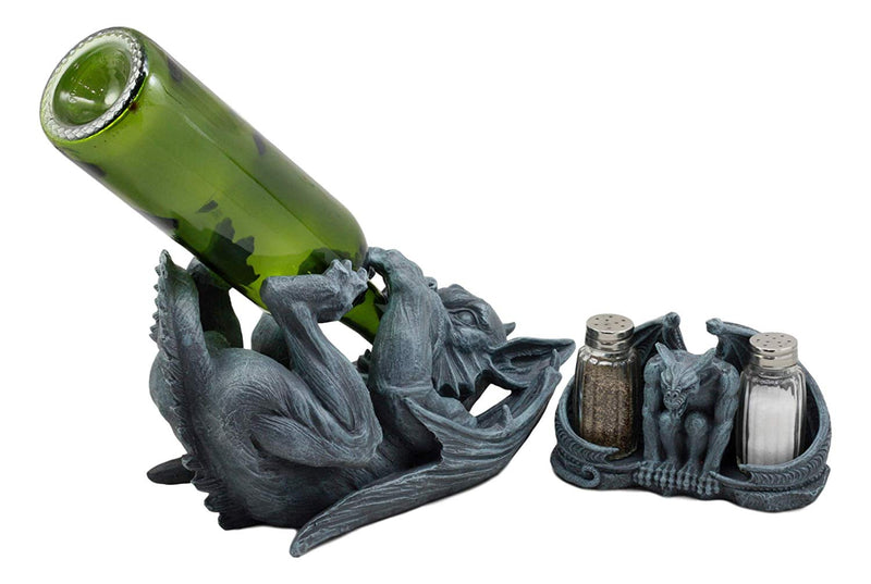 Ebros Night Abbadon Gothic Winged Gargoyle Wine Bottle Holder and Salt Pepper Shakers Figurine Set of 2 Kitchen Cellar Decor Statue