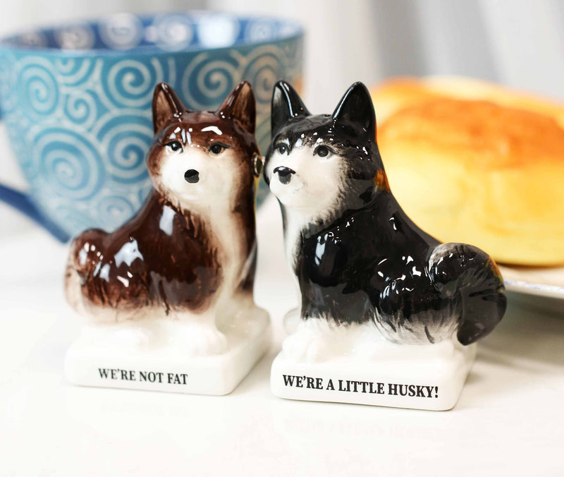 Ceramic 'Not Fat' Black Brown Huskies Dogs Salt And Pepper Shakers Figurine Set