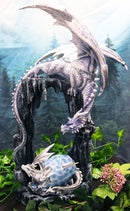 "Large 21""H White Frozen Dragon On Cavern With Wyrmling Hatchling In Egg Statue"