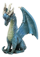 "Ebros Fantasy Blue Guardian Dragon with Hydra Horns Statue 6.5"" Tall Land of The Dragons Home Decor Figurine Medieval Renaissance Dungeons Flying Beast Sculpture"