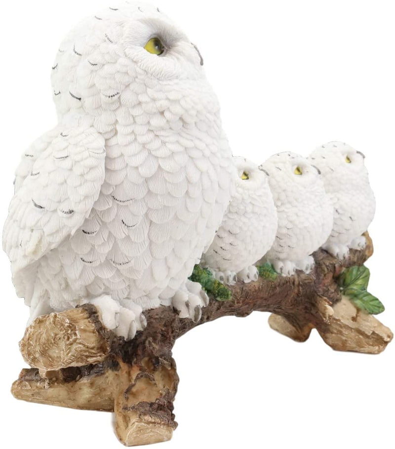"Ebros White Owl Perching On Tree Branch With 3 Baby Owlets Statue 10.25"" Wide"