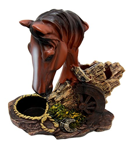 "Ebros Western Decor Chestnut Brown Stallion Horse by Wagon Wheel Salt Pepper Shakers Holder Figurine Set 6.25"" H"