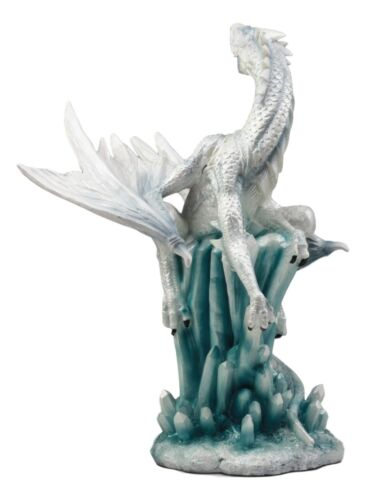 Ebros White Arctic Snow Winter Dragon On Giant Crystal Ice Rocks Statue Winterland Dragon Fantasy Decorative Figurine