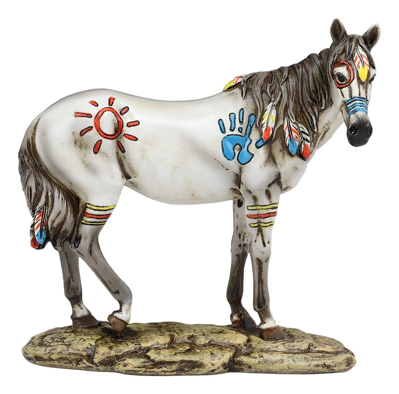 "Ebros Equestrian Tribal Beauty Medicine Spirit Horse Hand Crafted Statue 8"" High Native American Indian Symbols Sun Palm Feathers Stallion Animal Decor Sculpture"