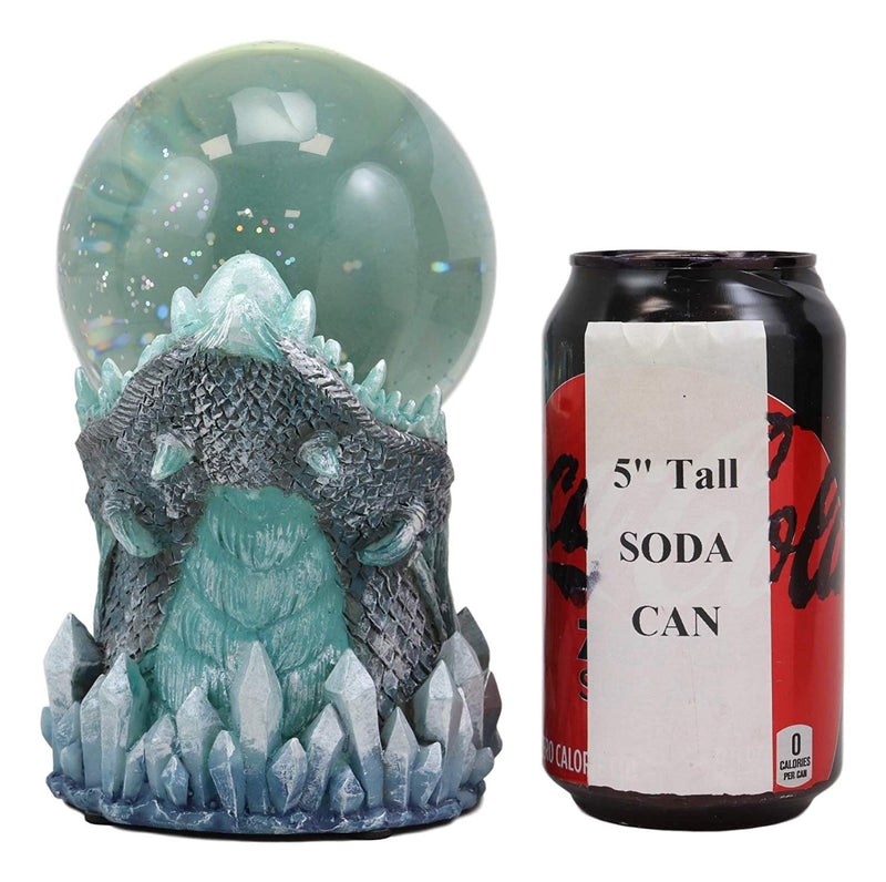 Ebros Blue Frost Dragon LED Night Light Glitter Sparkle Water Globe Storm Ball