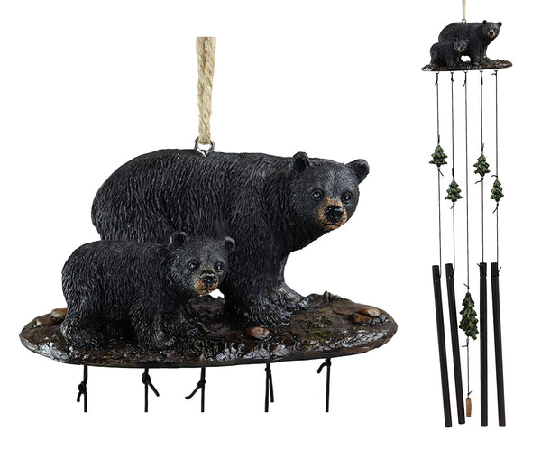 Ebros Gift Rustic Woodland Black Bear Mother and Cub Family Roaming The Forest Figurine Top Resonant Wind Chime with Pine Tree Ornaments Garden Patio Rustic Cabin Lodge Mountain River Home Accent