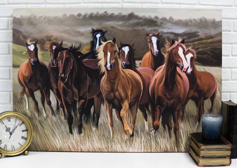 "Rustic Western Running Horses Herd Wood Framed Canvas Print 31"" X 21"" Wall Art"