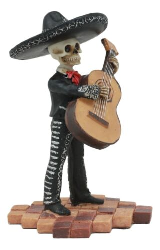 Black Mariachi Band Skeleton Folk Music Bass Player Figurine Day Of The Dead