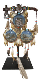 Triple Wolves Eagle Warpath Axe Dreamcatcher Beaded Lace Feathers Desktop Plaque