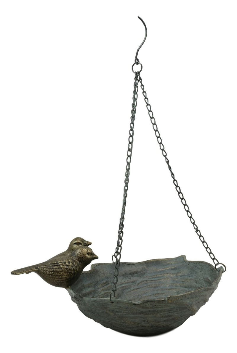 "Ebros Gift 21"" Tall Aluminum Metal Rustic Whimsical Perching Pair of Lovebirds Hanging Bird Feeder Or Nest Holder Garden Outdoors Sculpture for Lawn Pool Patio Pool Backyard Decor Accent"
