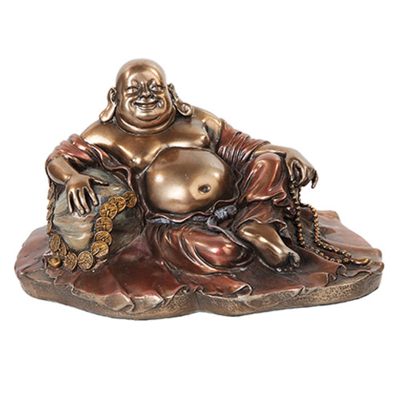 "Ebros 11"" Long Lucky Happy Buddha Resting on Fortune Coins Wealth Bodhisattva Sculpture Statue - Ebros Gift"