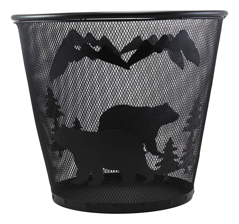 "Ebros Wildlife Rustic Black Bears Roaming Pine Trees Forest by The Mountains Metal Wire Waste Basket Bin 14"" Diameter Bear Home and Bathroom Accent Trash Can"