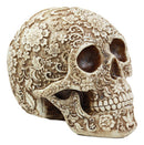 "Ebros Natural Antique Skull Bone Floral Skull Statue 8""L Day Of The Dead Decor"