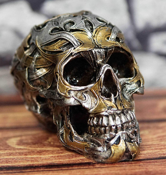 "Ebros Goth Cryptic Maori Silver and Gold Tattoo Skull Statue 5.5"" Long Figurine"