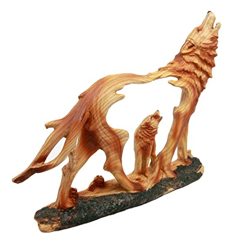 Ebros Howling Gray Alpha Wolf Figurine in Faux Wood Finish Home Decor Sculpture
