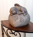 Pet Memorial My Love Sleeping Angle Dog Foot Print Rock Urn Bottom