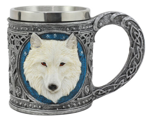 Ebros Celtic Direwolf Ghost White Wolf Coffee Mug 14oz Animal Totem Spirit Wolf Mug
