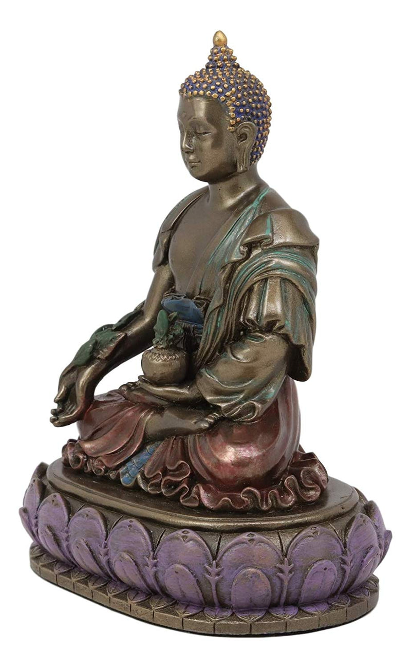 Ebros Akshobhya Bhaiṣajyaguru Medicine Buddha of Healing and Purity Meditating Figurine in Faux Bronze Patina for Home Altar Zen Decoration Eastern Enlightenment Amitabha Buddhist Statue Feng Shui