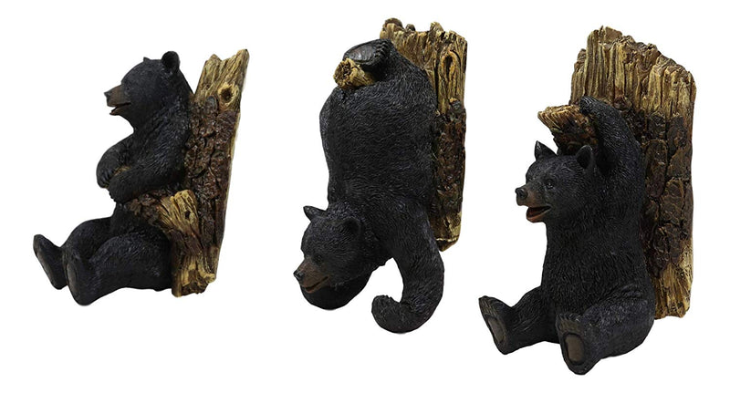 "Ebros Whimsical Rustic 3 Acrobatic Black Bears Hanging On Tree Branches Wall Hooks 5.25"" High Set of 3 Hanger Forest Jungle Bears Wall Mount Coat Hat Keys Hook Decor Hanging Sculpture Plaque"