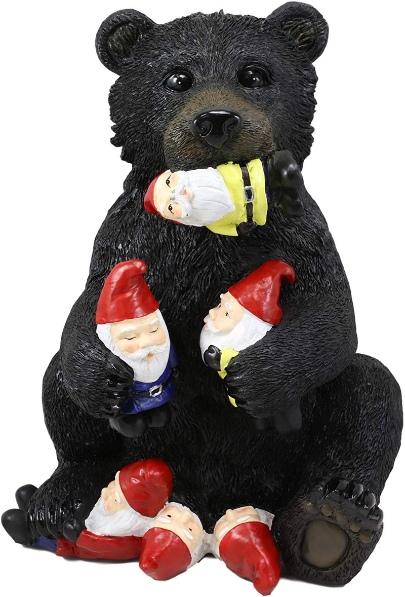 "Ebros Whimsical Forest Black Bear Holding Colorful Christmas Mini Gnomes Statue 14.25"" High Western Rustic Cabin Lodge Decor Bears Figurine for Mantelpiece Shelf Table Decorative Home Accent"