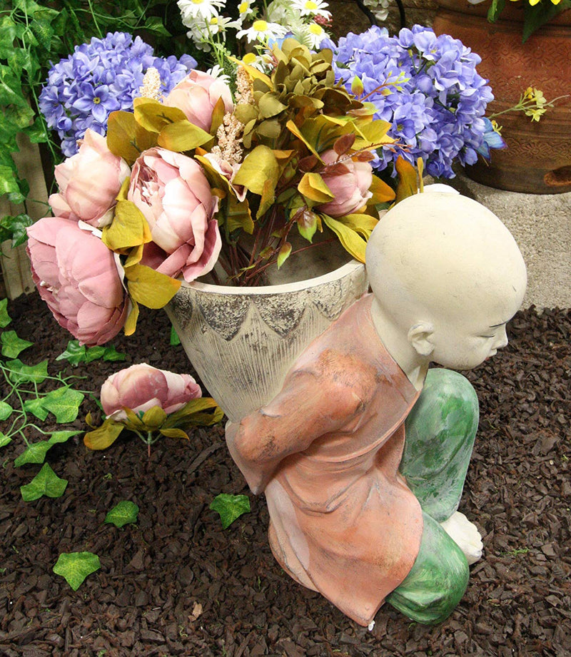 "Ebros 13.5"" Tall Jizo Buddha Monk Kneeling with Flower Planter Pot Vase Statue - Ebros Gift"