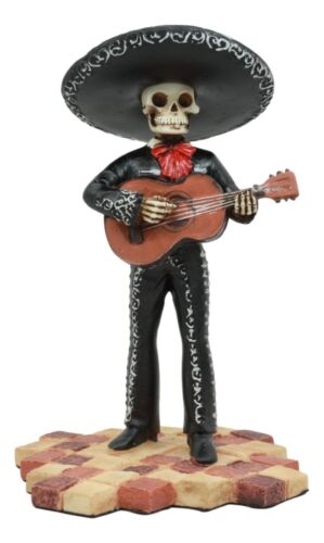 Black Mariachi Band Skeleton Guitarist In Charro Outfit Statue Day of The Dead
