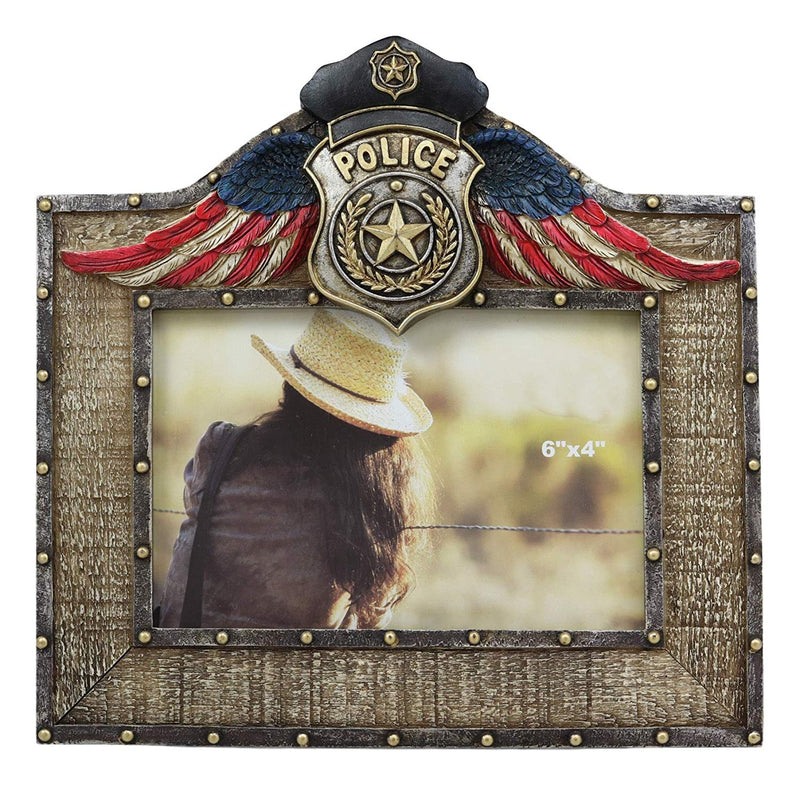 "Western Police Emblem Logo Badge Picture Frame with Easel Back for 4""X6"" Photo"