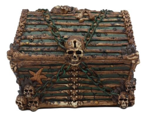 Ebros Pirate Davy Jones Ghost Haunted Sunken Ship Small Treasure Chest Box Featuring A Cross Chained Skull Jewelry Box Figurine As Decorative Secret Stash Box Container Organizer For Gothic Halloween