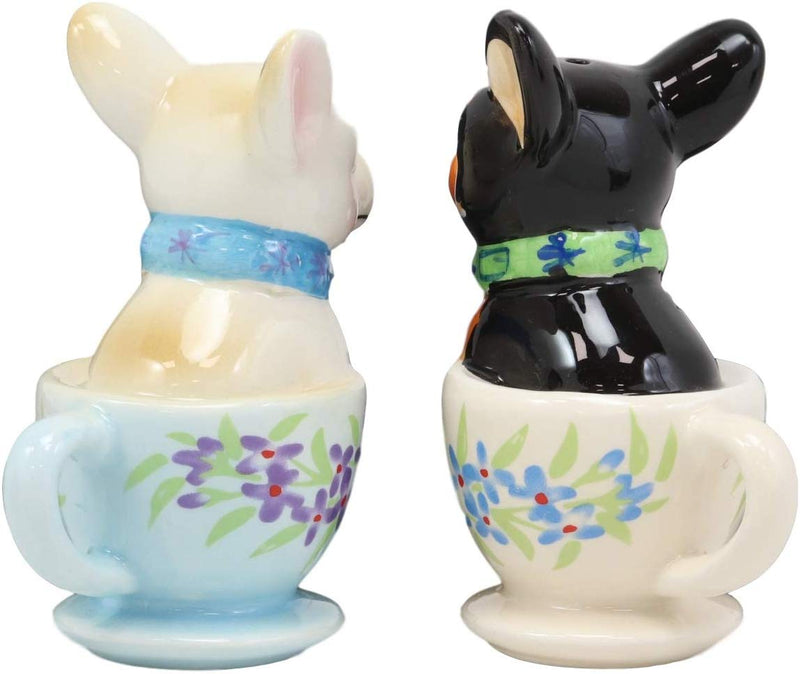 Ceramic Teacup Black White Chihuahua Dogs Kissing Salt And Pepper Shakers Set