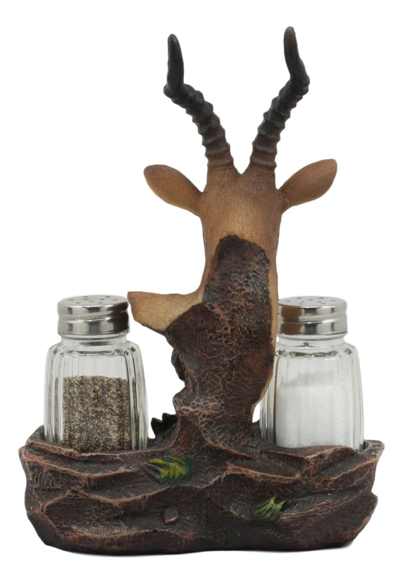 "Ebros African Kalahari Kudu Antelope Salt And Pepper Shakers Holder Figurine With Glass Shakers Safari Animal Decor 8"" Tall"