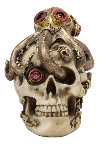 "Ebros Steampunk Sea Monster Golden Army Masked Octopus Wrapping Around Cyborg Robot Skull Statue 5.25""Tall Nautical Ocean Terror Myth Kraken Decorative Skulls Decor Figurine Science Fiction Decorative"