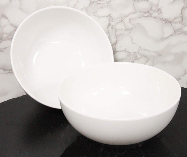 Ebros Gift Contemporary White Smooth Jade Melamine Large Deep Round Bowls 48oz Ramen Udon Pho Noodle Soups Salads Mixing Decorative Vegetable Bowl Serveware Restaurant Supply Home Kitchen (2)