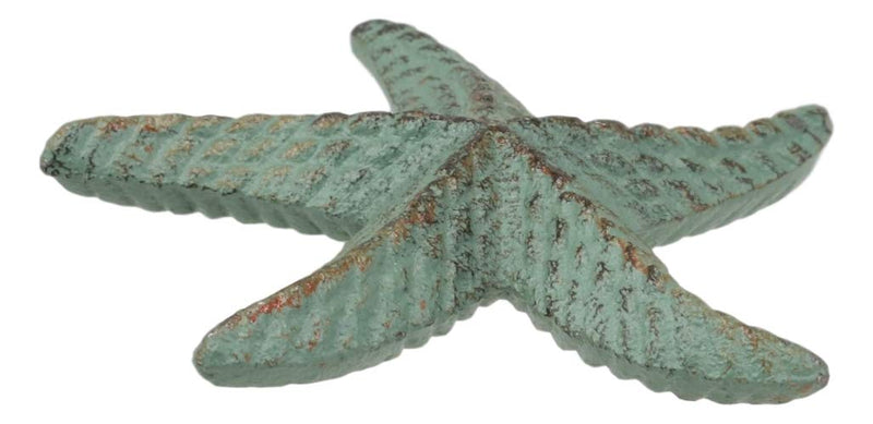 "Ebros Cast Iron Ocean Coral Sea Star Shell Starfish Decorative Accent Statue in Rustic Green Verdigris 3.75"" Wide Nautical Coastal Themed Decor for Wedding Beach Party Home Decorations DIY Crafts (3)"