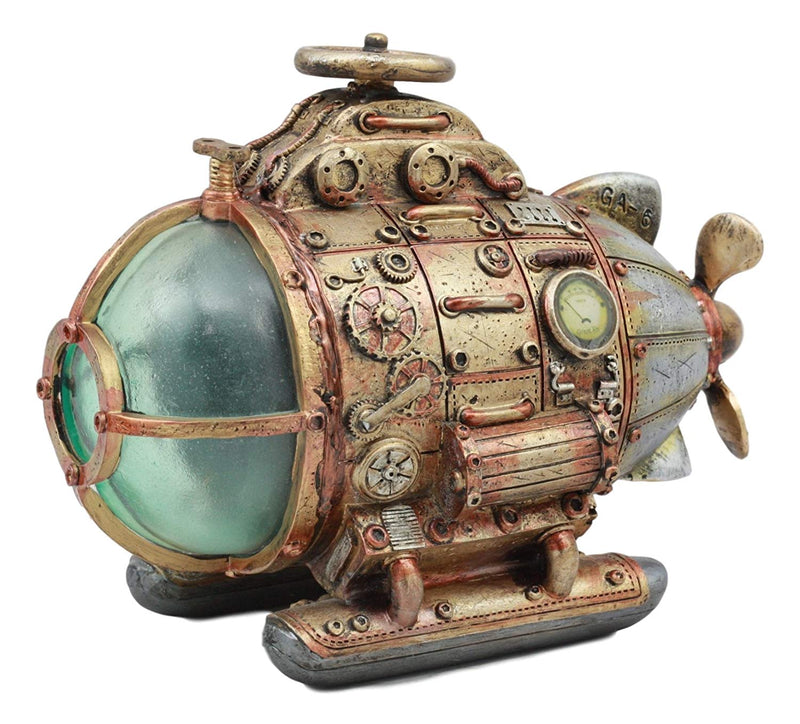 "Ebros Vintage Design Holmes Nautilus Steampunk Submarine LED Night Light Statue 7.5""Long Science Fiction Steampunk Maritime Combat Submarine With Automatic Color Changing LED Lights"