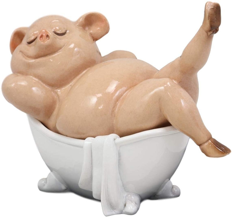 "Ebros Voluptuous Babe Marilyn The Swine Pig Diva Sitting in Bathtub Statue 6"" Wide Home Decor Hospitality Figurine for Bar Shelf Countertop Desktop Table Accessory Party Hosting Prop"