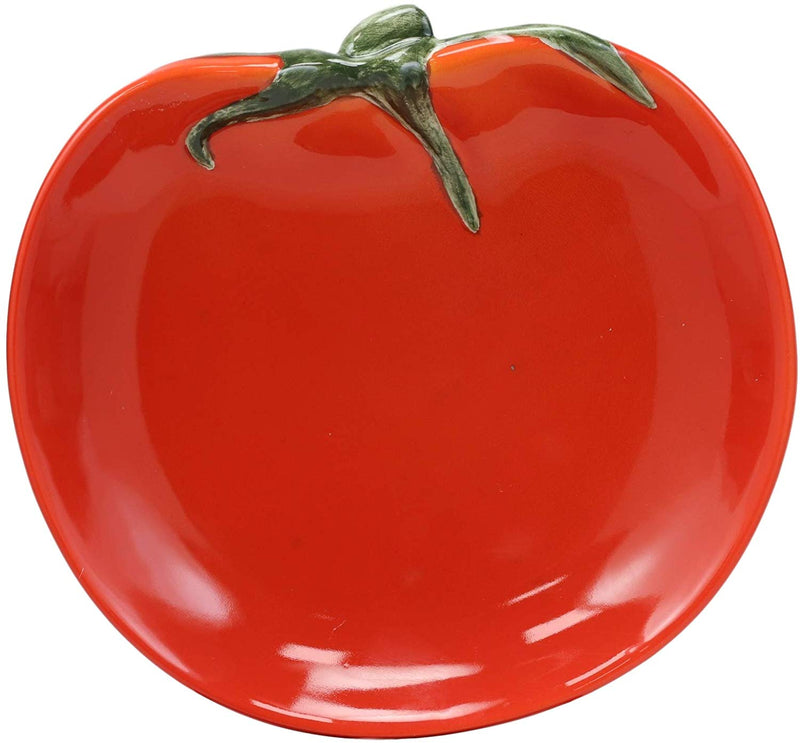 "Ebros 6.5"" Diameter Ceramic Fruity Red Tomato Fruit Small Serving Plate (1 PC)"