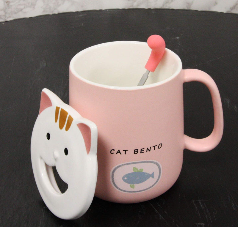 Ebros Whimsical Kitty Cat Bento Porcelain Coffee Tea Mug Drink Cup With Tongue Shaped Handle Spoon And Smiling Face Lid 14oz Kittens Or Cats Mugs For Kids and Adults (Pastel Pink)