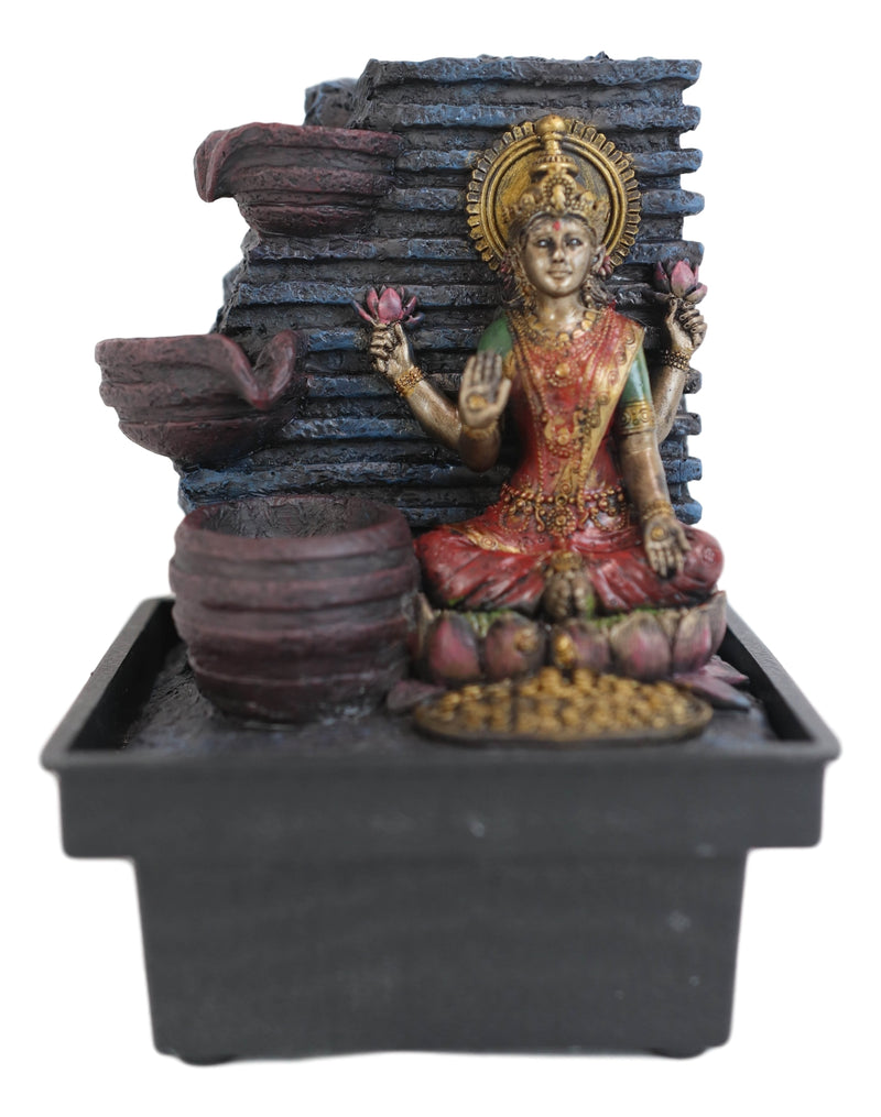 Hindu Goddess of Prosperity Sri Lakshmi Sitting On Lotus Desktop Water Fountain