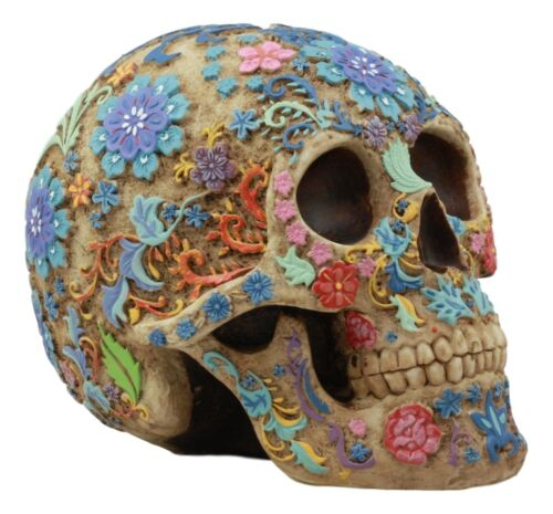 Ebros Colorful Day Of The Dead Floral Sugar Skull Statue Dias De Los Muertos Flora And Fauna Flower Skeleton Head Sculpture