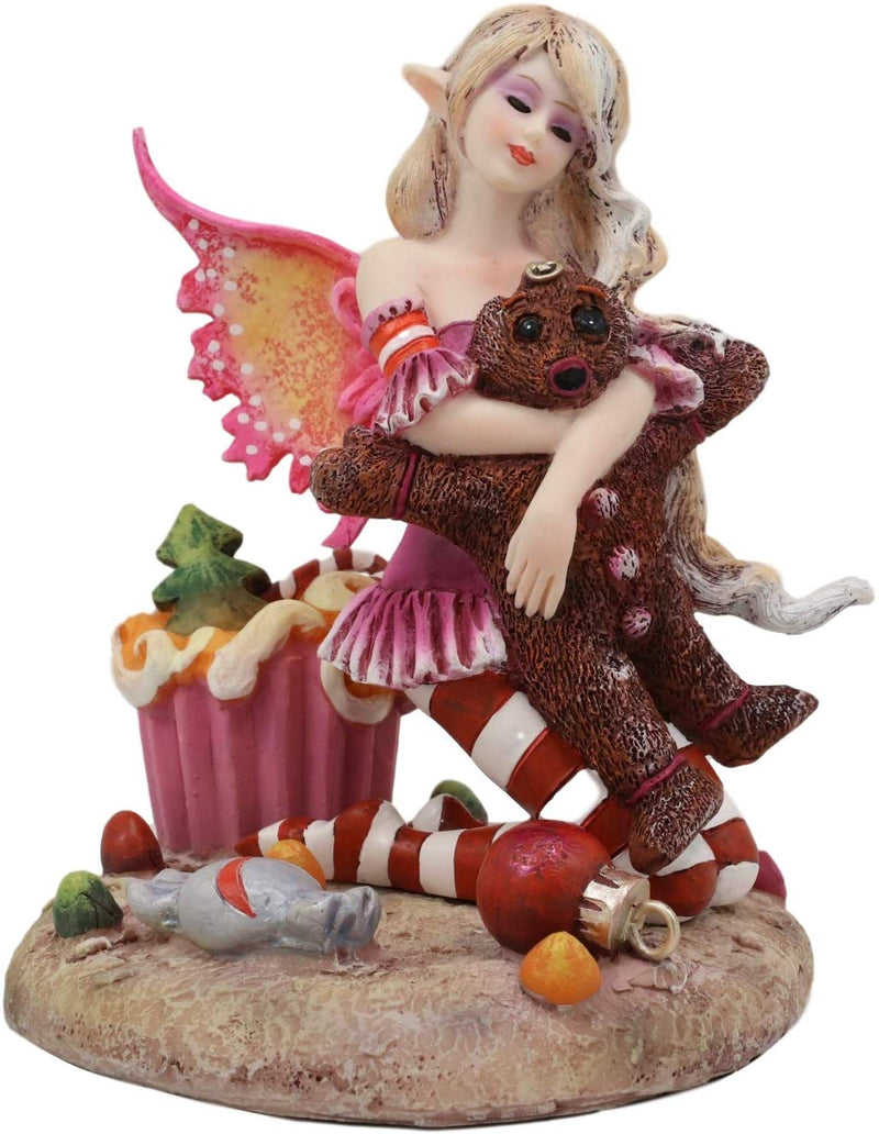 Ebros Amy Brown Christmas 'TWAS The Night' Fairy Hugs Gingerbread Man Figurine