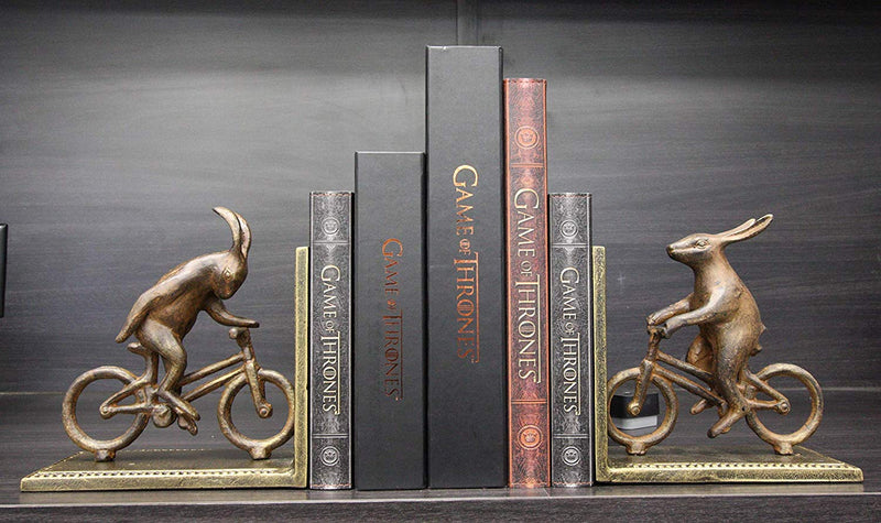 "Ebros Gift Cast Iron And Aluminum Metal Whimsical Rabbit Bunnies On Bikes Bookends 7.25""Tall Set Of 2"